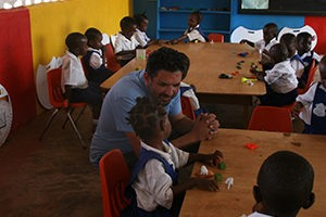 Ran at a tour to kindergartens in Liberia
